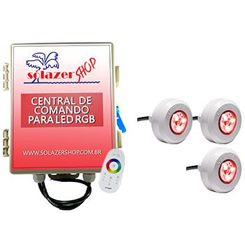 Kit 3 leds coloridos para piscina com central e touch
