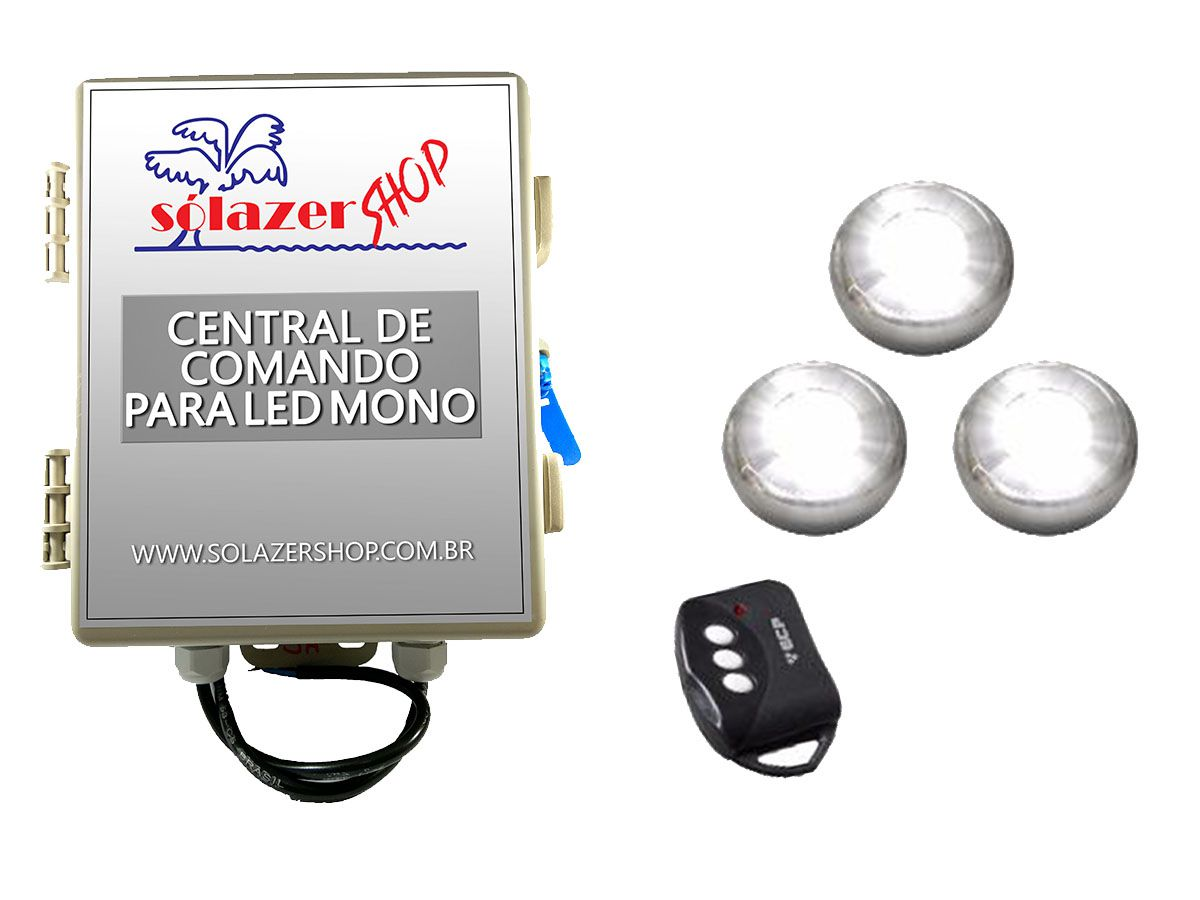 Kit 3 Led Piscina Inox Monocromático 9w + Central - Tholz