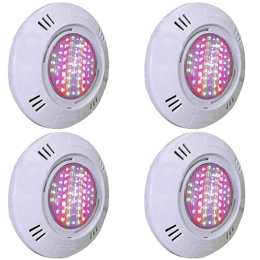 Kit 4 Iluminação LED Piscina SMD 5W RGB Colorido - Sodramar