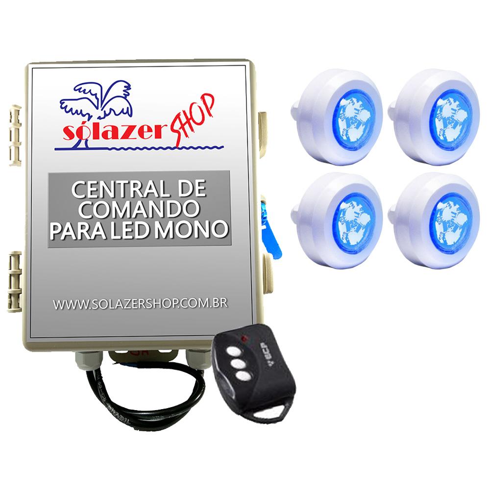 Kit 4 Led Piscina Monocromático 4,5W + Central + Controle - Tec Light
