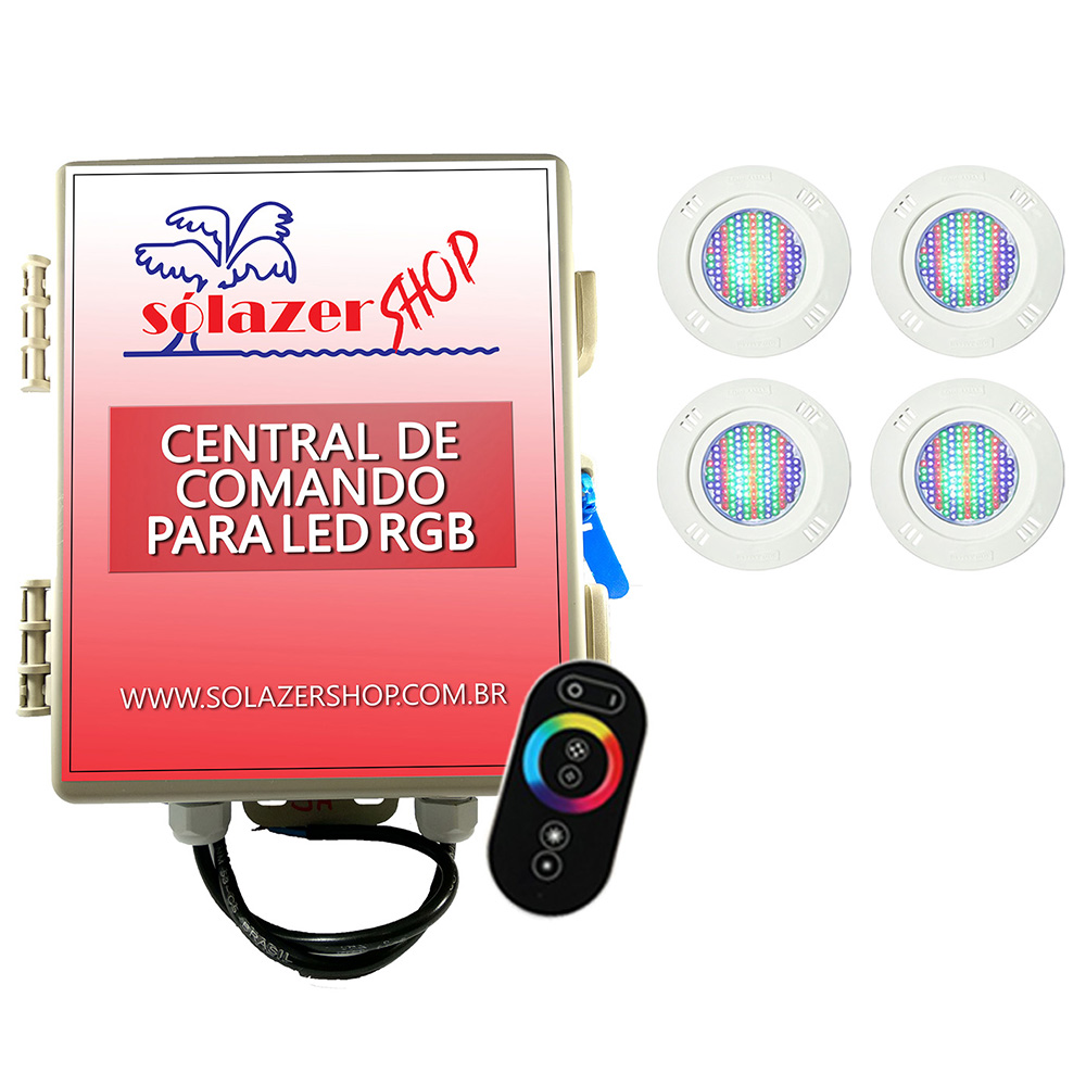 Kit 4 Led Piscina Pratic SMD 5w + Central Touch - Sodramar