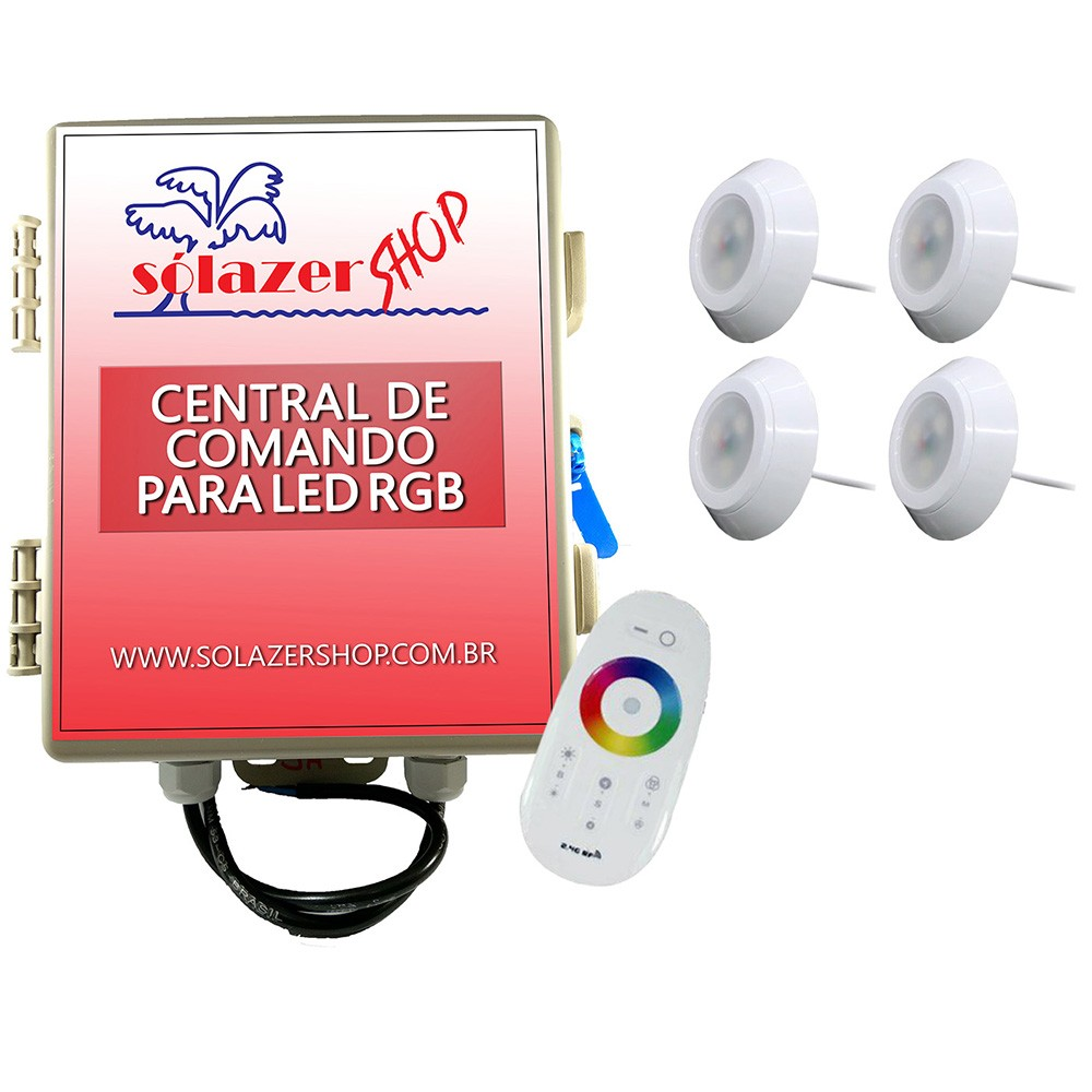 Kit 4 Led Piscina RGB 9W ABS Divina Lux + Central + Controle