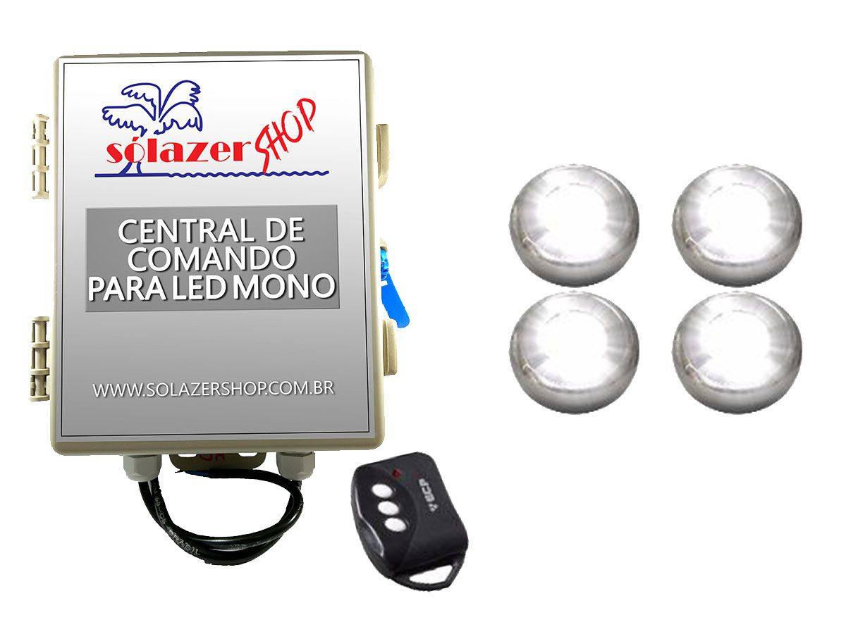 Kit 4 Led Piscina Inox Monocromático 9w + Central - Tholz