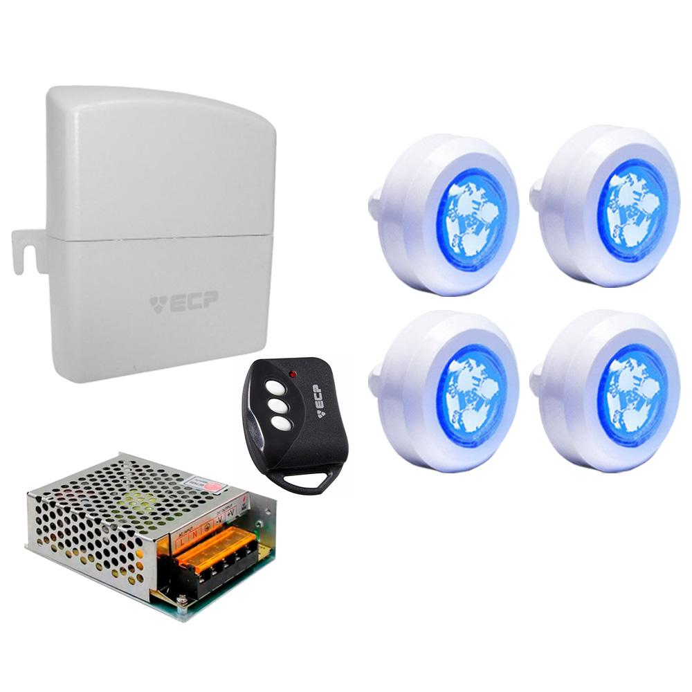 Kit 4 Refletor LED Piscina ABS Mono + Central  Compacta