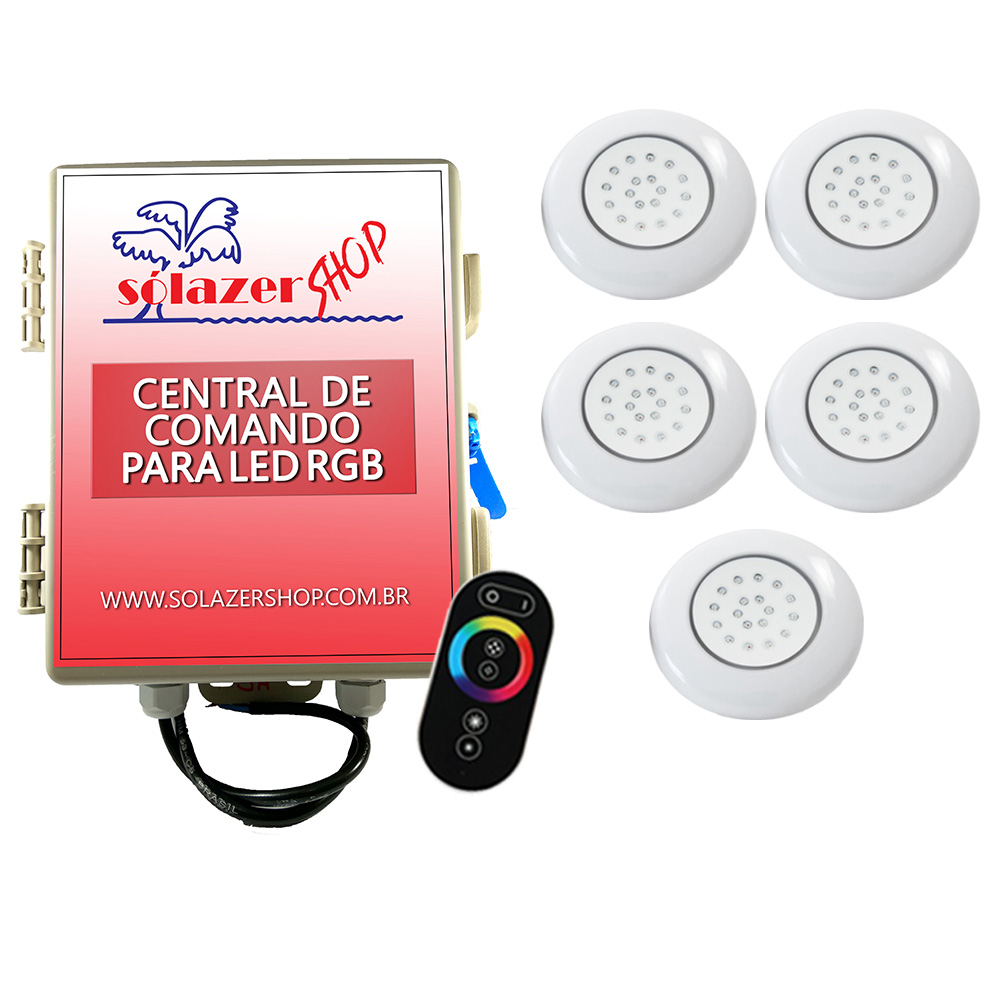 Kit 5 LED Piscina ABS RGB 18W + Central + Controle Touch