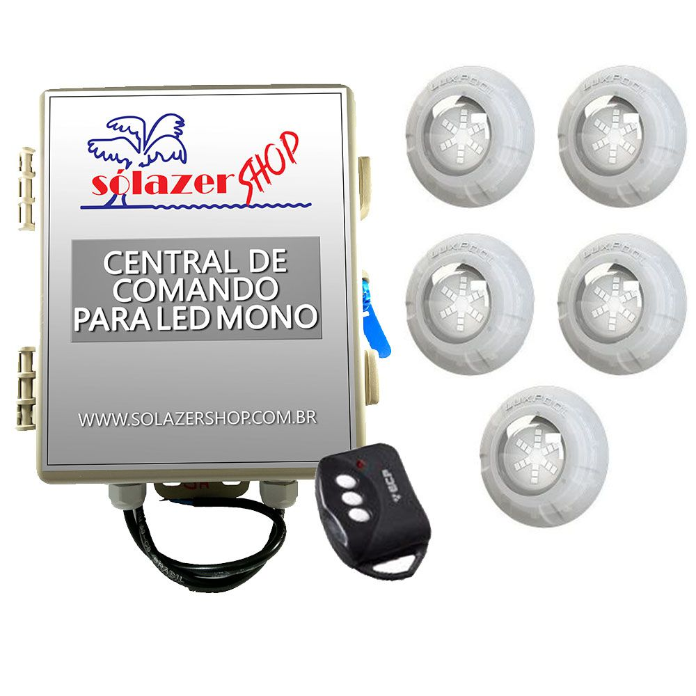 Kit 5 Led Piscina Monocromático 9W + Central + Controle - Luxpool