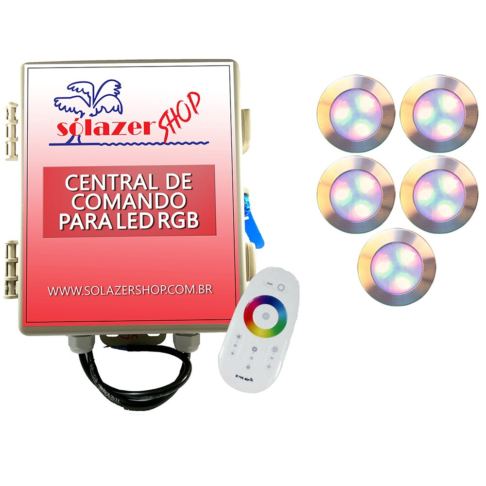 Kit 5 Led Piscina RGB 12W Inox Divina Lux + Central + Controle