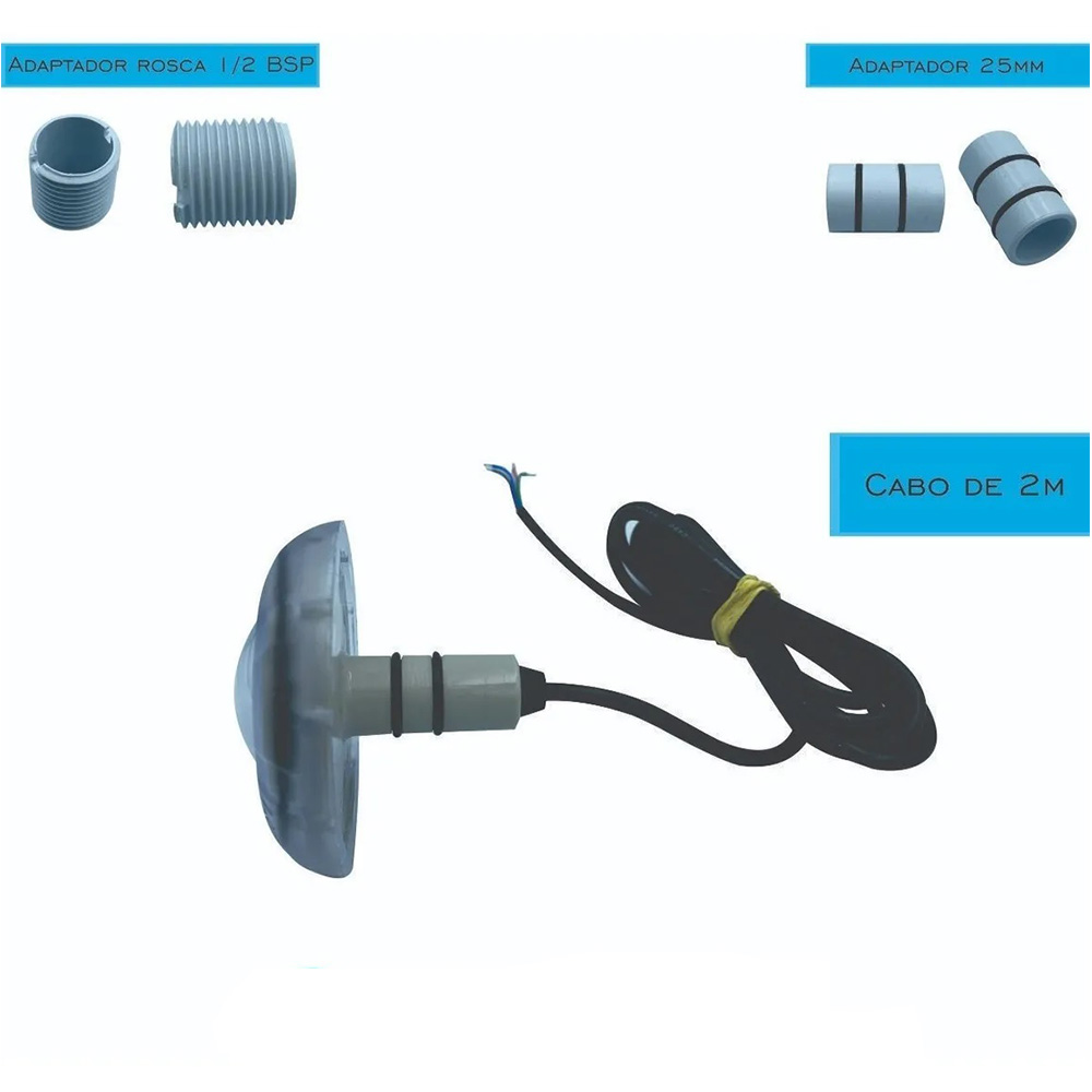 Kit 5 Led Piscina RGB 4W + Central + Controle Touch - Luxpool