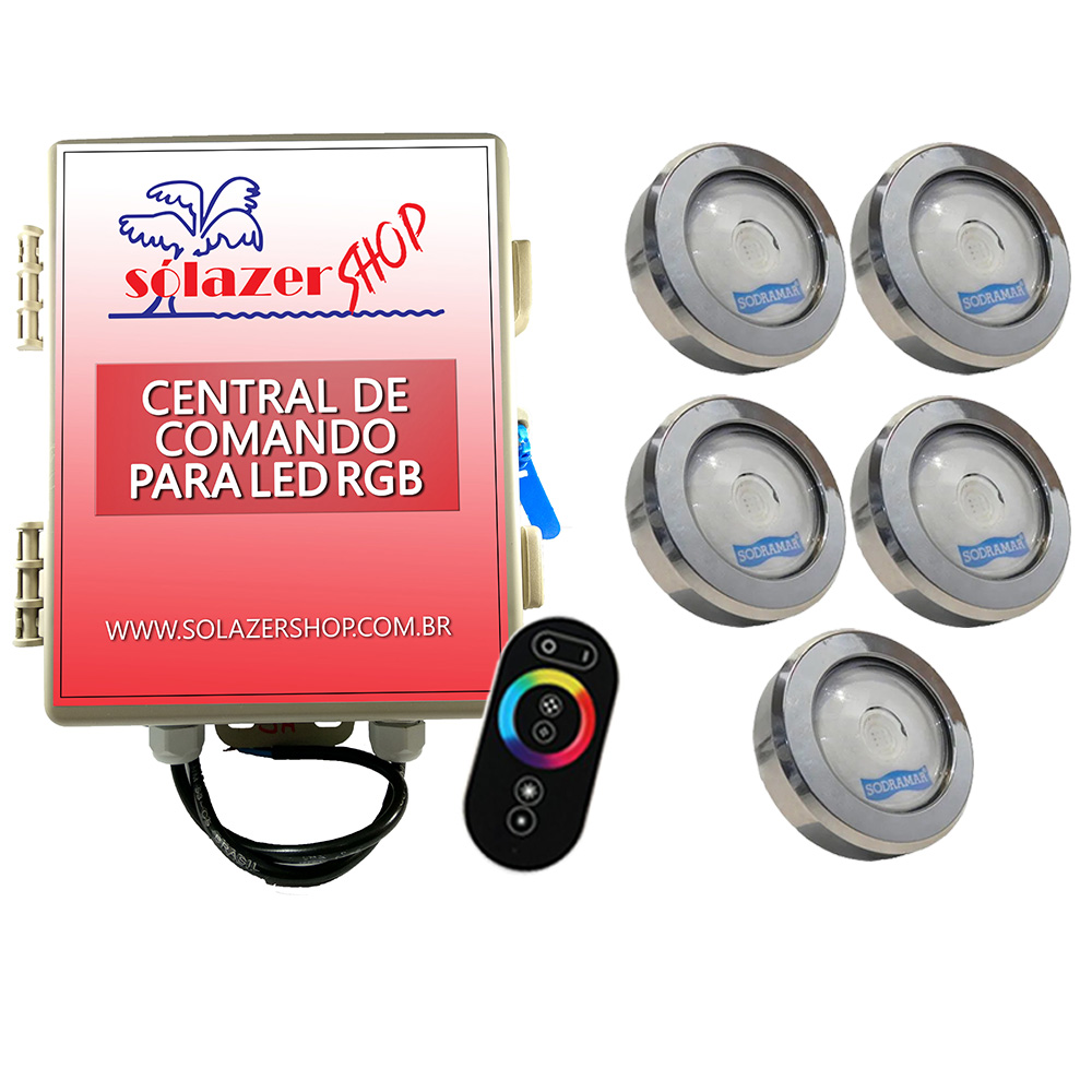 Kit 5 Led Piscina RGB COB Colorido Sodramar + Central Touch