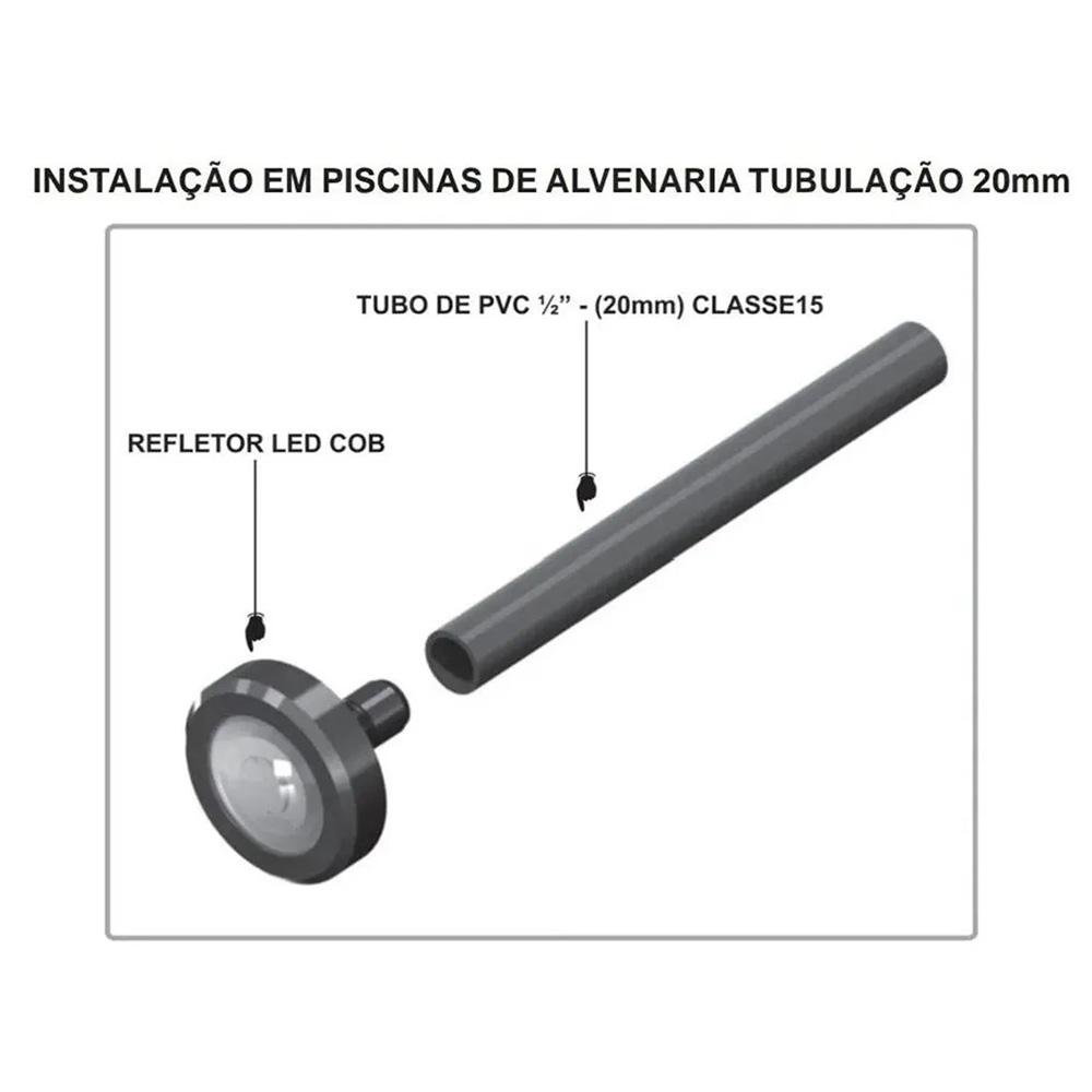 Kit 5 LED Piscina RGB Colorido COB + Central Wifi Sodramar