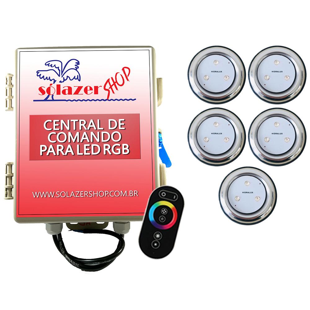 Kit 5 Refletor LED Piscina RGB 9W Inox + Central Touch