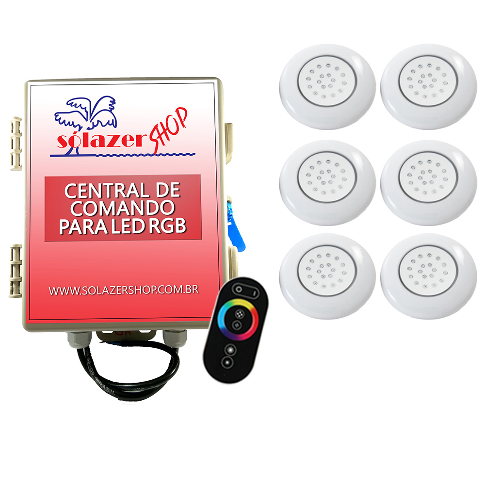Kit 6 LED Piscina Inox RGB 18W + Central + Controle Touch