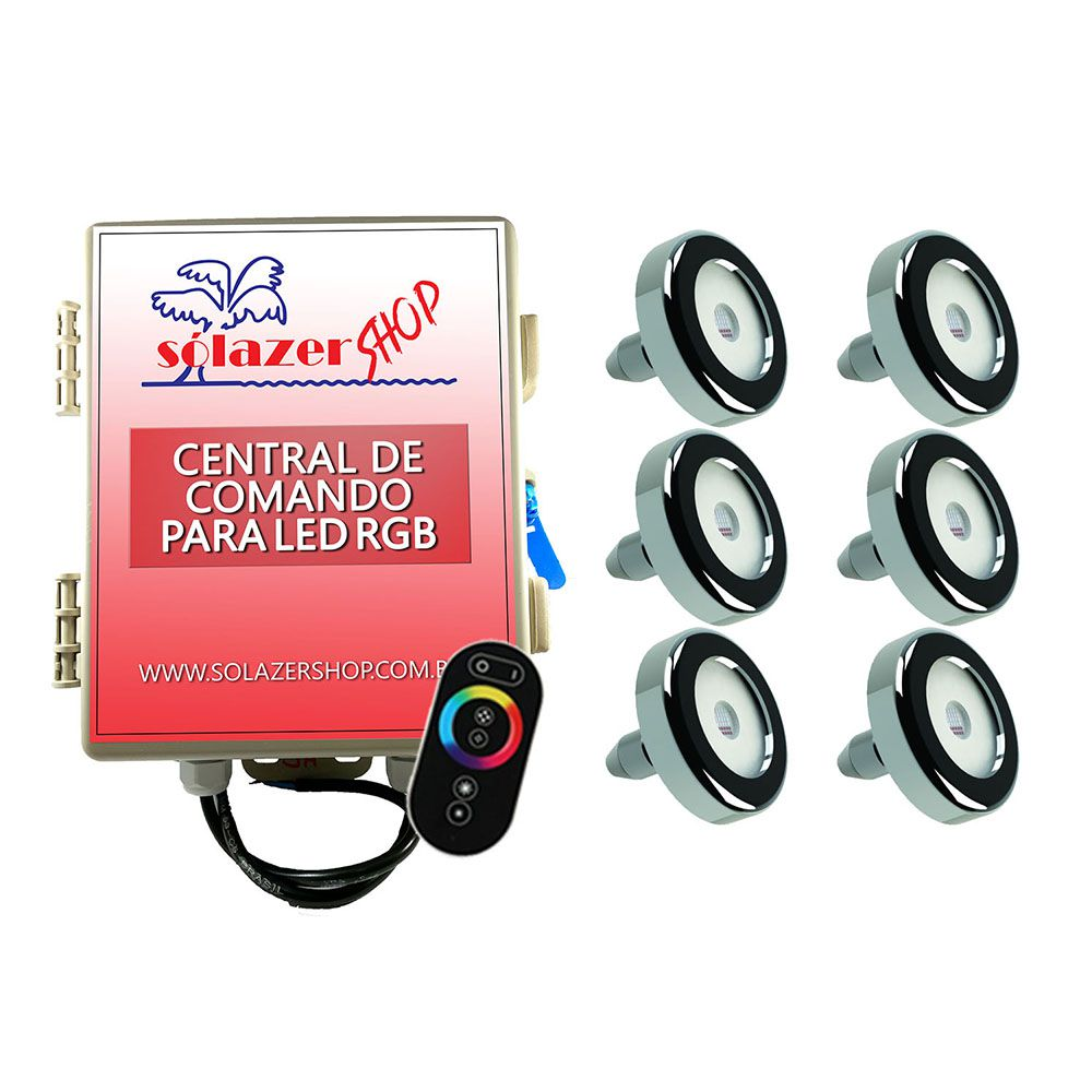 Kit 6 Led Piscina Inox RGB 6W + Central + Controle - Tholz