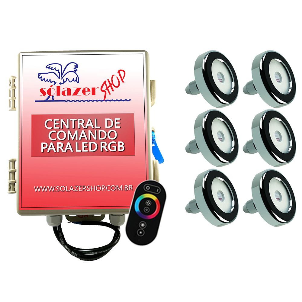 Kit 6 Led Piscina Inox RGB 9W + Central + Controle - Tholz