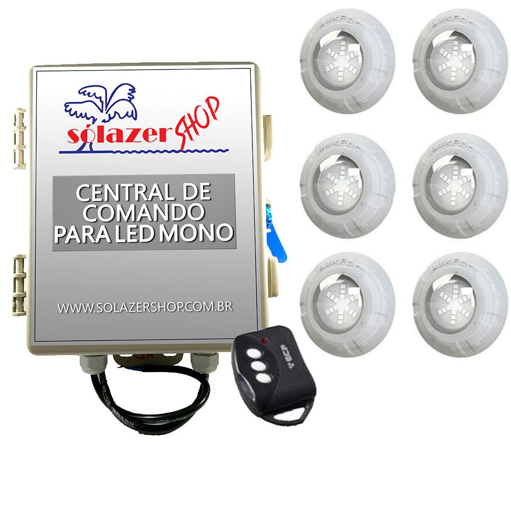 Kit 6 Led Piscina Monocromático 9W + Central + Controle - Luxpool