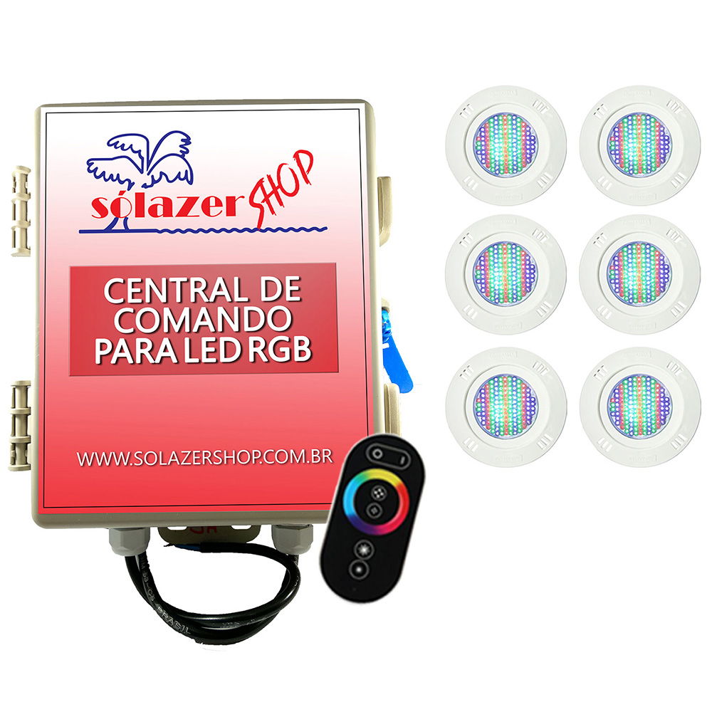 Kit 6 Led Piscina Pratic SMD 9w + Central Touch - Sodramar