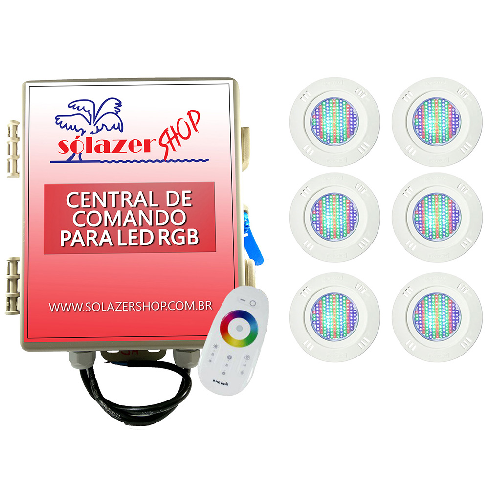 Kit 6 Led Piscina Pratic SMD 5w + Central Touch - Sodramar