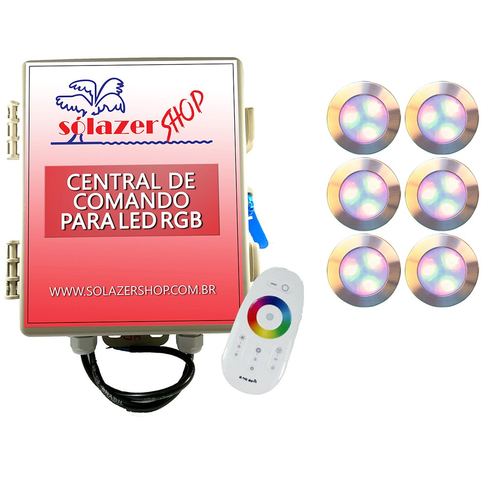 Kit 6 Led Piscina RGB 12W Inox Divina Lux + Central + Controle