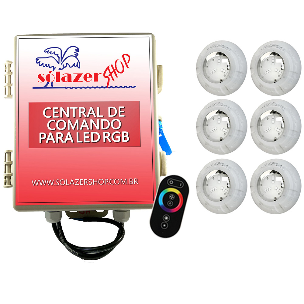 Kit 6 Led Piscina RGB 4W + Central + Controle Touch - Luxpool
