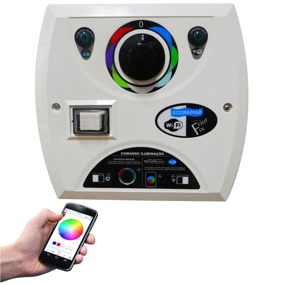Kit 6 LED Piscina RGB COB Colorido + Central Wifi Sodramar