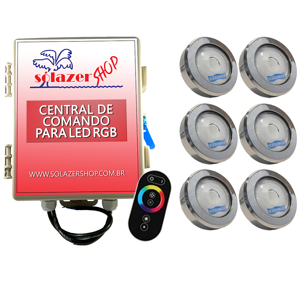 Kit 6 Led Piscina RGB COB Colorido Sodramar + Central Touch