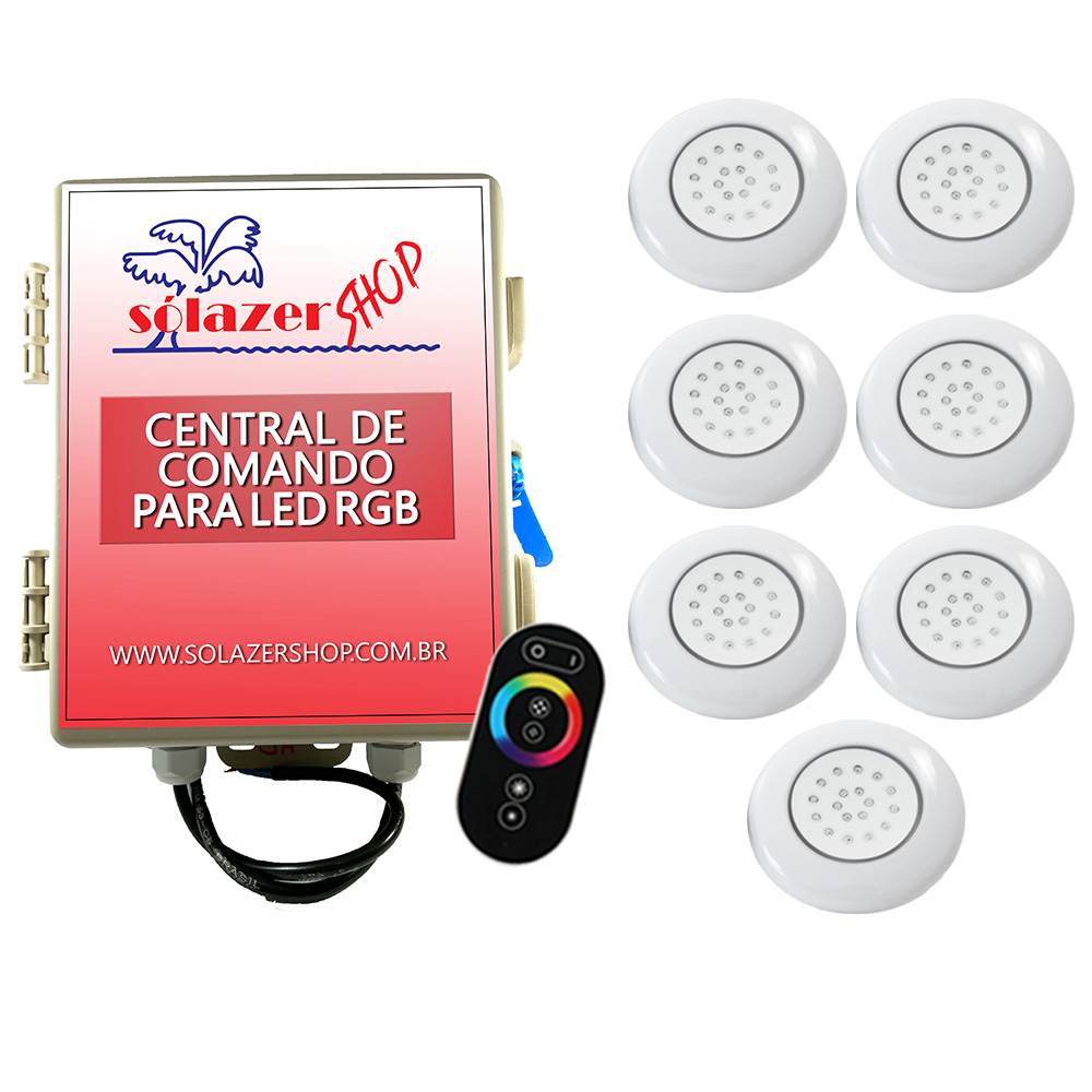 Kit 7 LED Piscina ABS RGB 18W + Central + Controle Touch