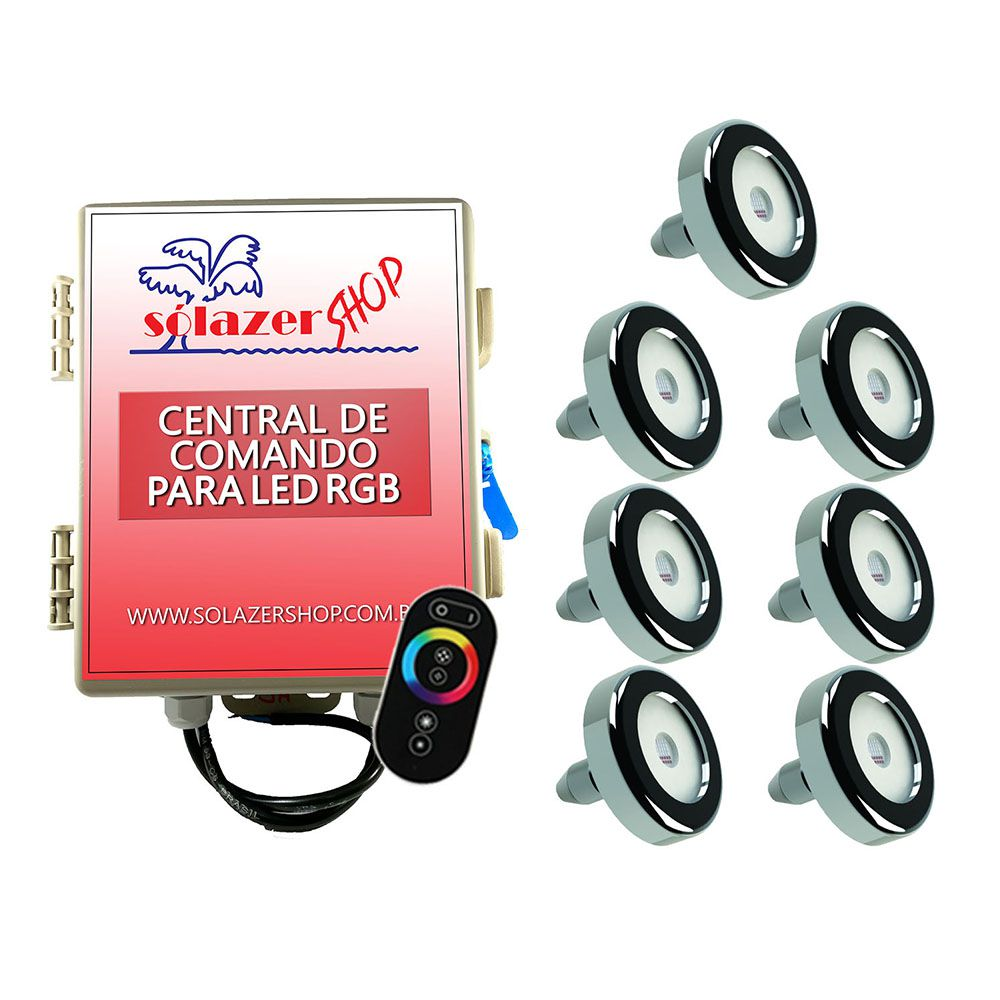 Kit 7 Led Piscina Inox RGB 6W + Central + Controle - Tholz