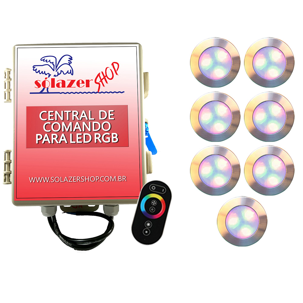 Kit 7 Led Piscina RGB 12W Inox Divina Lux + Central + Controle