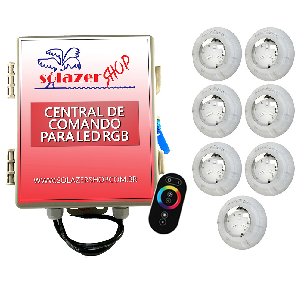 Kit 7 Led Piscina RGB 4W + Central + Controle Touch - Luxpool