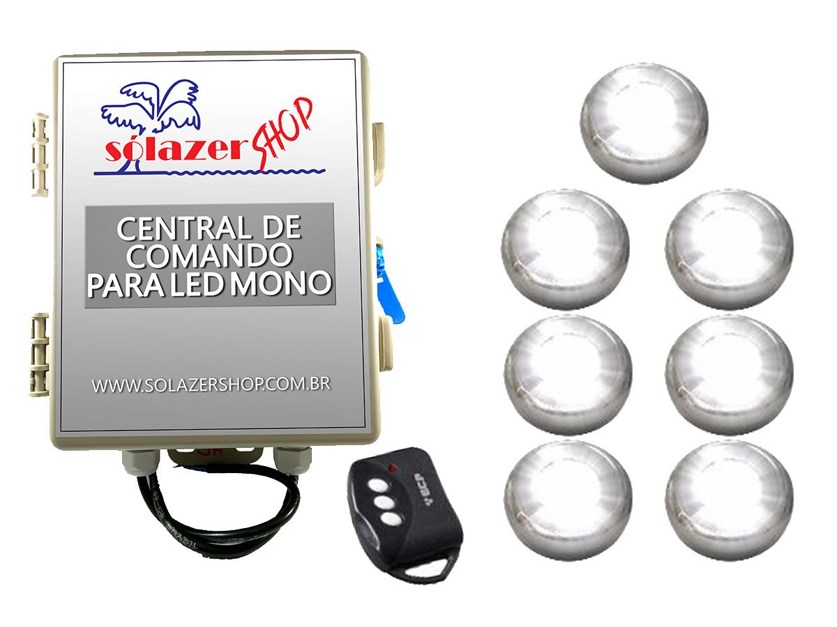 Kit 7 Led Piscina Inox Monocromático 9w + Central - Tholz