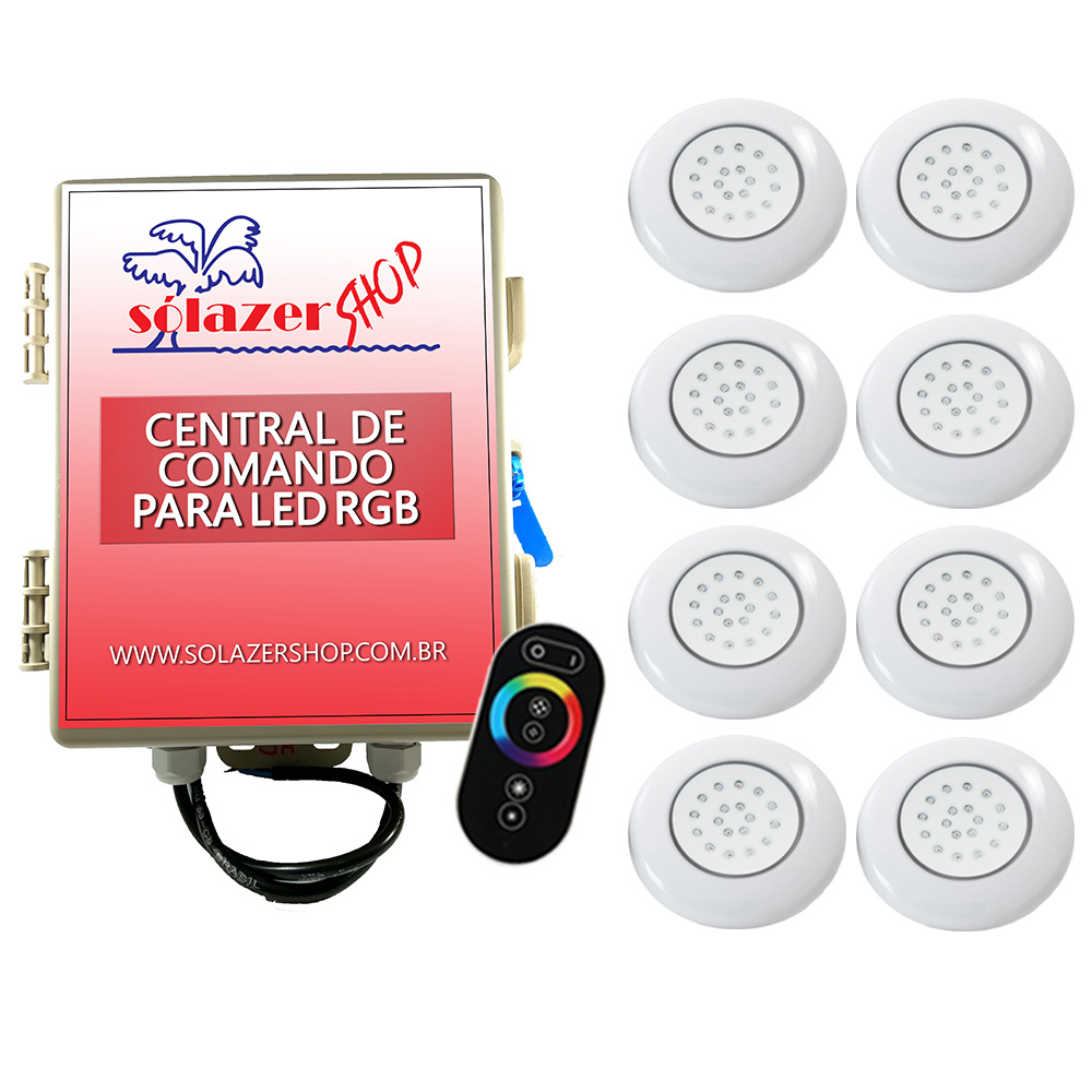 Kit 8 LED Piscina ABS RGB 18W + Central + Controle Touch