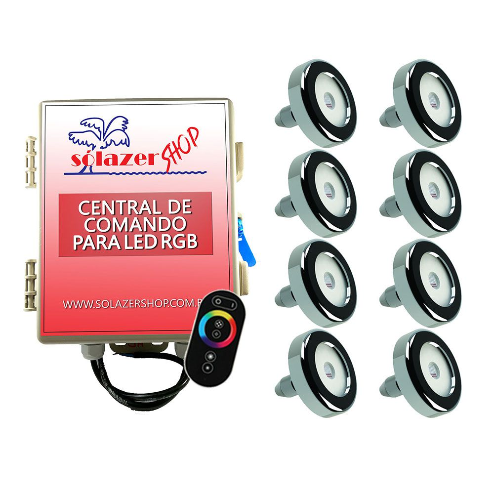 Kit 8 Led Piscina Inox RGB 6W + Central + Controle - Tholz