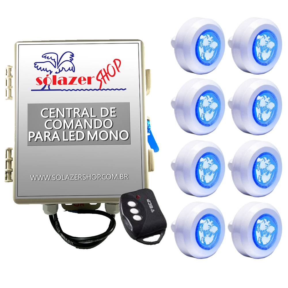 Kit 8 Led Piscina Monocromático 4,5W + Central + Controle - Tec Light