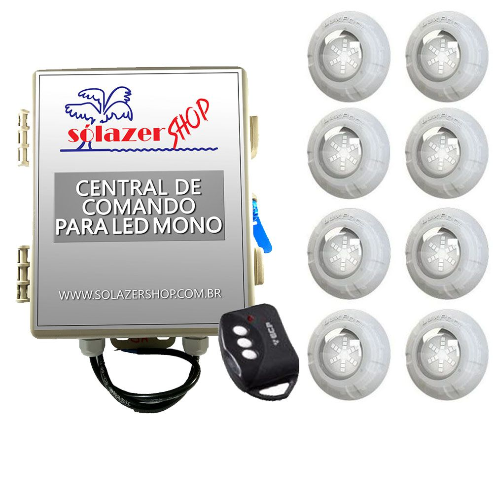 Kit 8 Led Piscina Monocromático 9W + Central + Controle - Luxpool