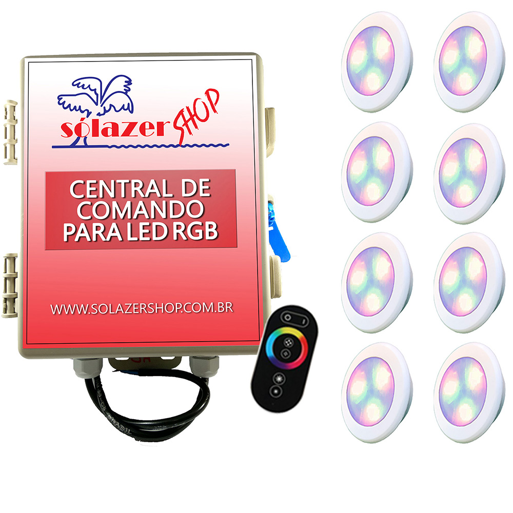Kit 8 Led Piscina RGB 6W ABS Divina Lux + Central + Controle