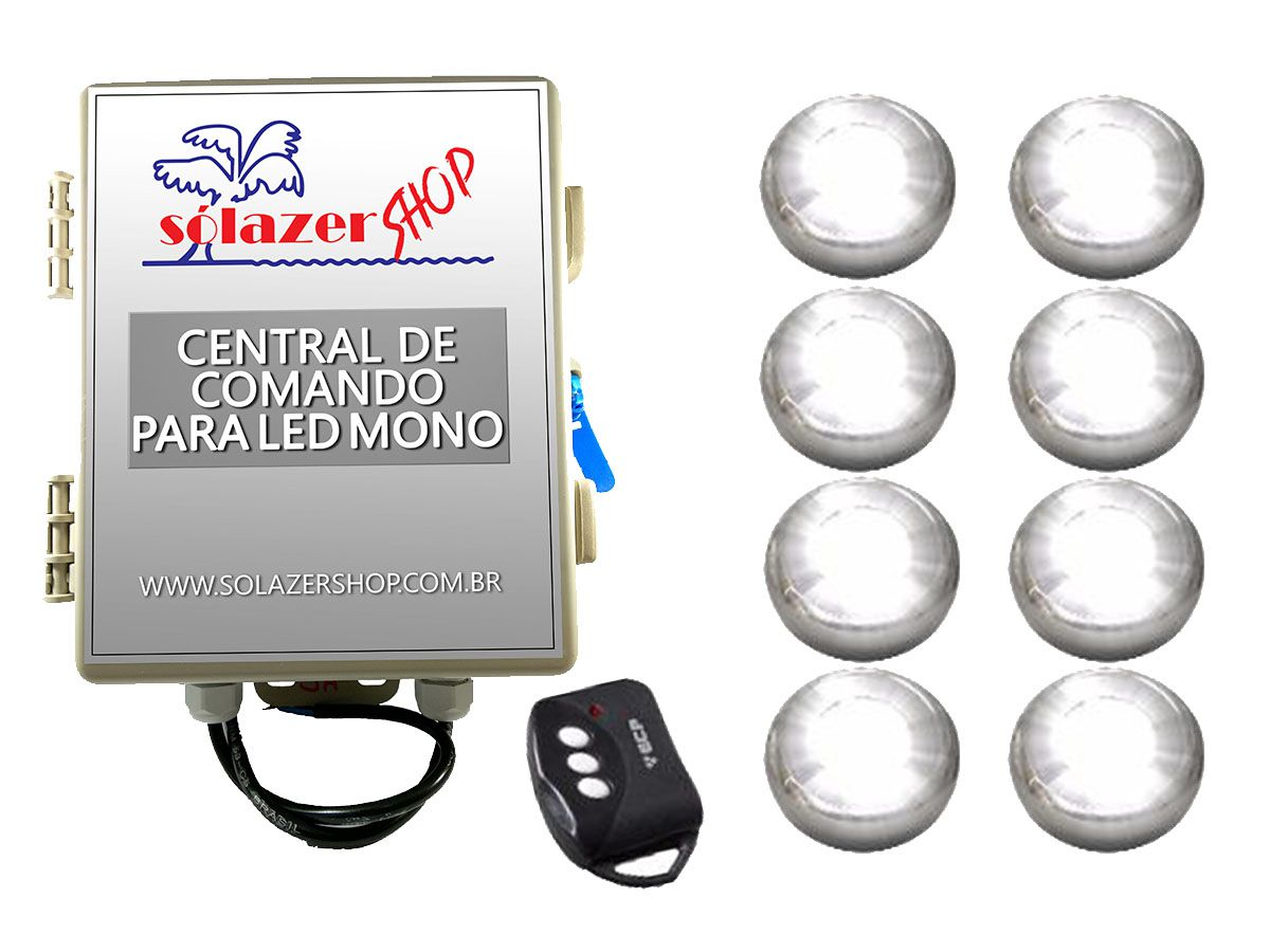 Kit 8 Led Piscina Inox Monocromático 9w + Central - Tholz