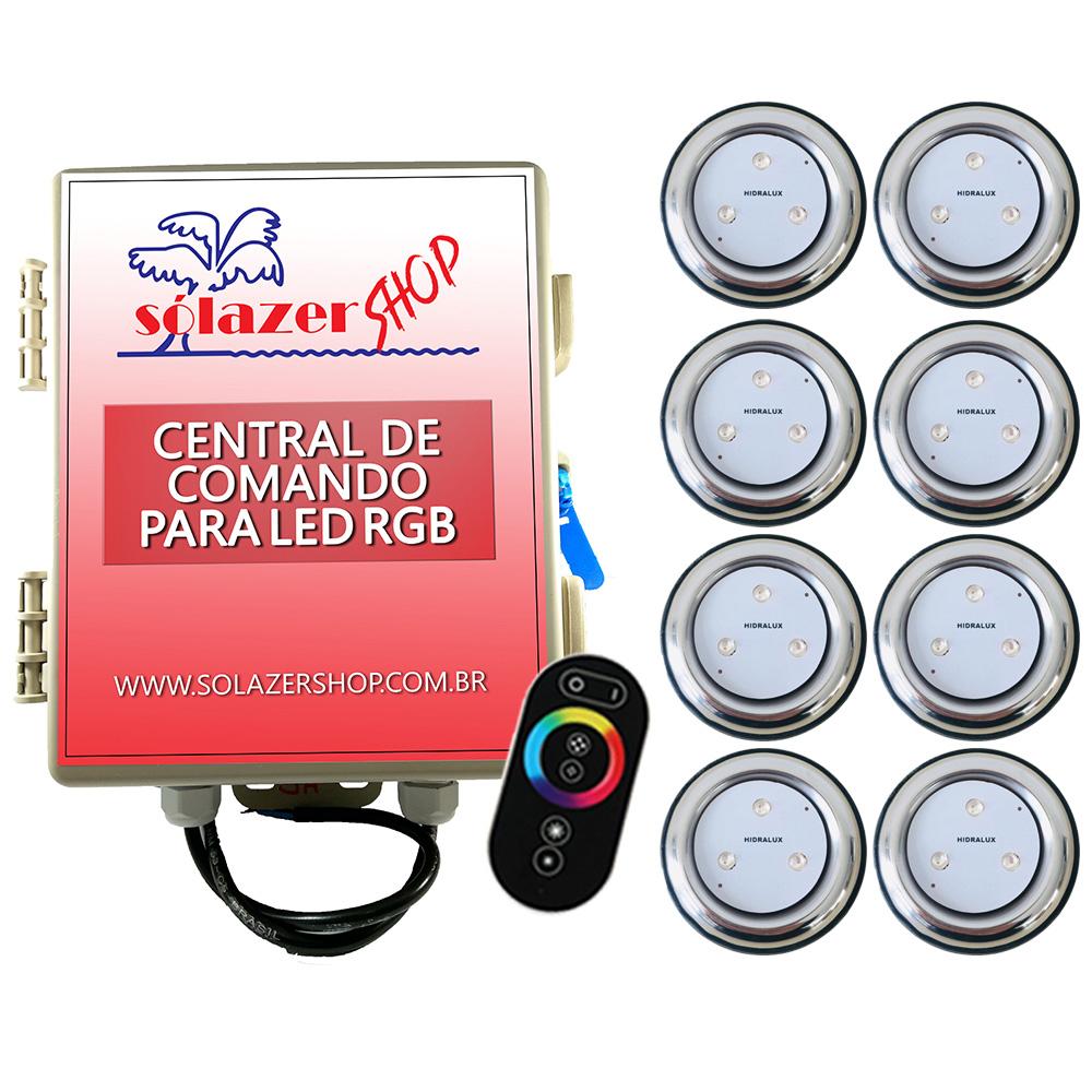 Kit 8 Refletor LED Piscina RGB 9W Inox + Central Touch