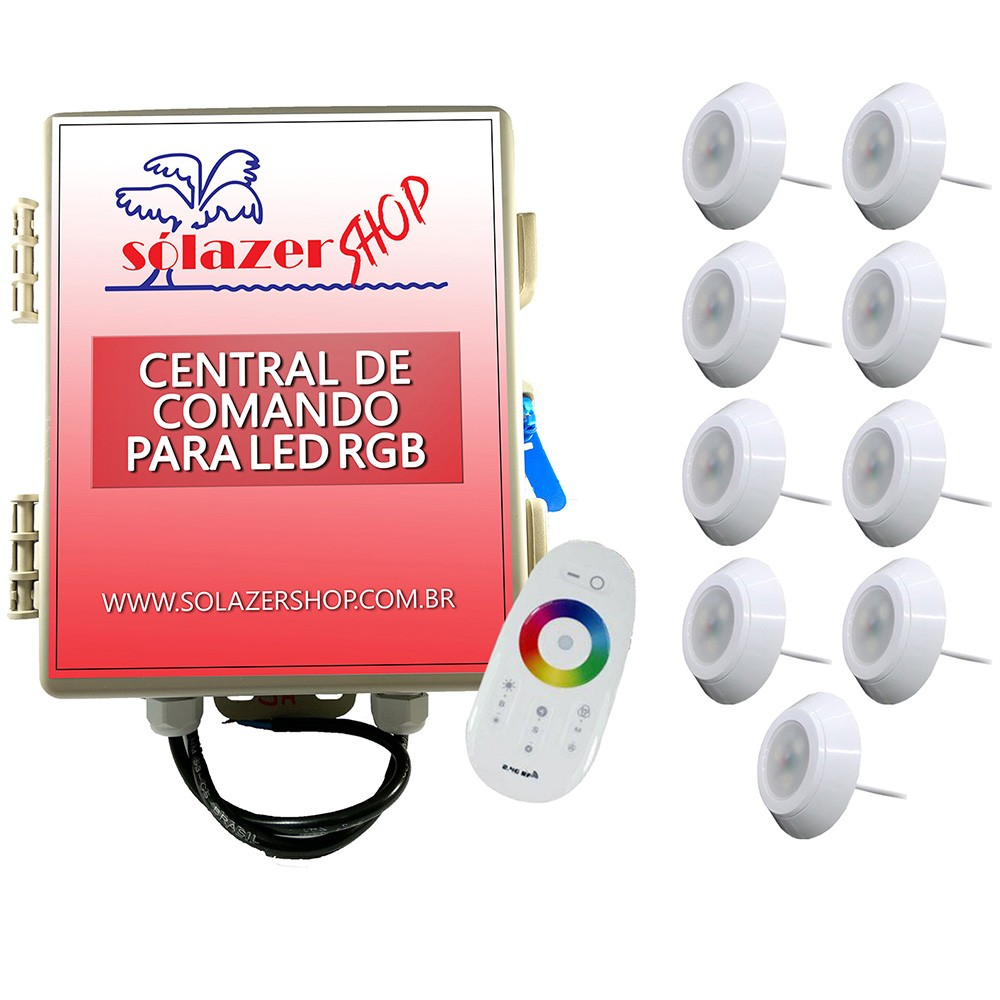 Kit 9 Led Piscina RGB 9W ABS Divina Lux + Central + Controle