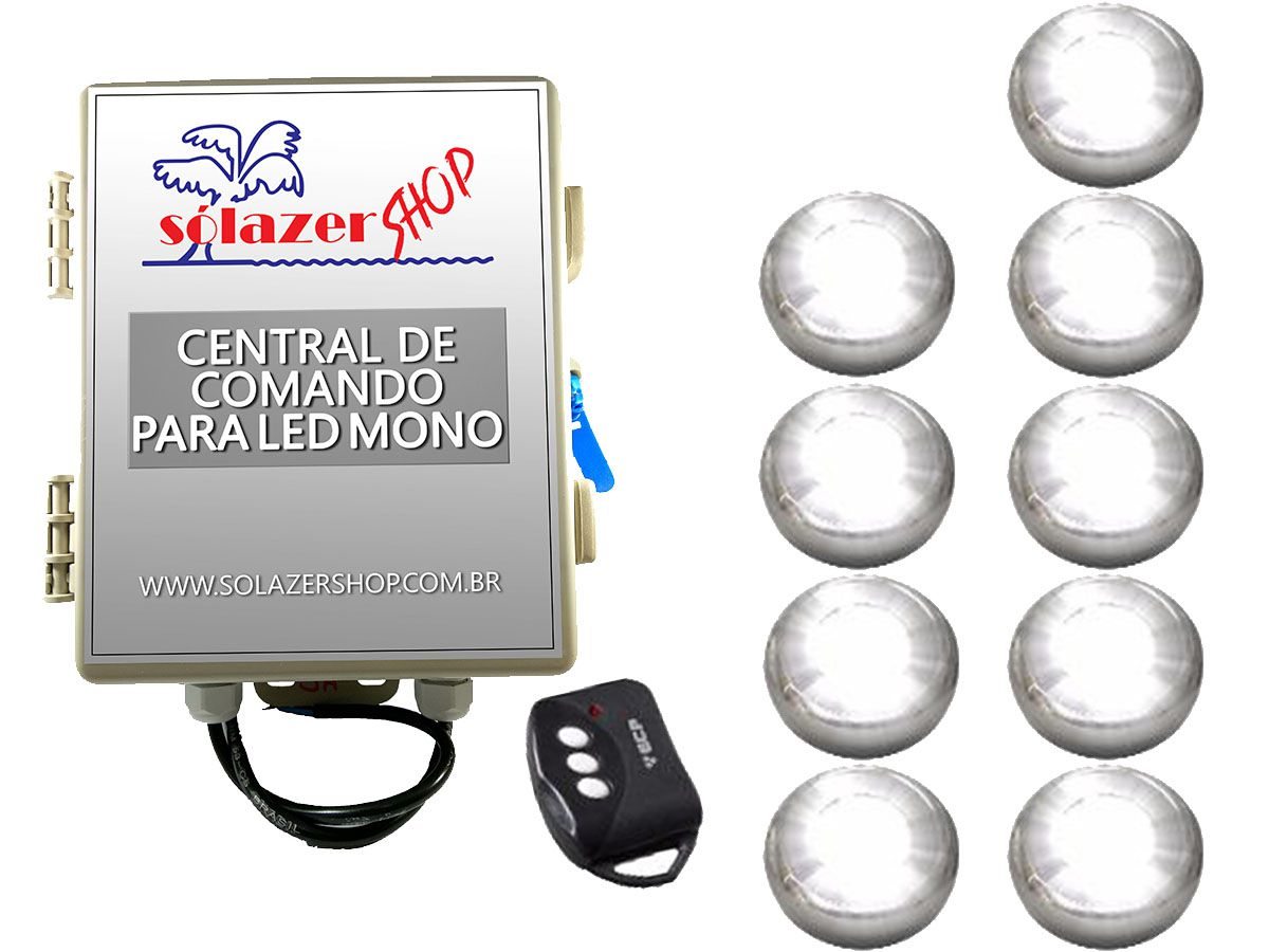 Kit 9 Led Piscina Inox Monocromático 9w + Central - Tholz