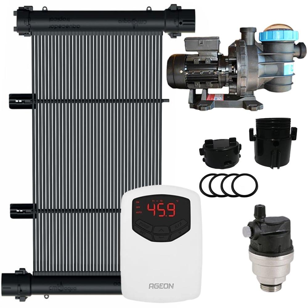 Kit Aquecedor Solar Piscina 18m² + Motor 1/2 CV - CMB Aqua