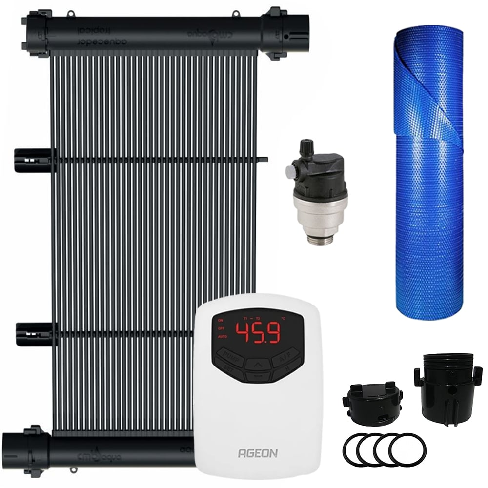 Kit Aquecedor Solar Piscina 60m² + Capa Térmica - CMB Aqua