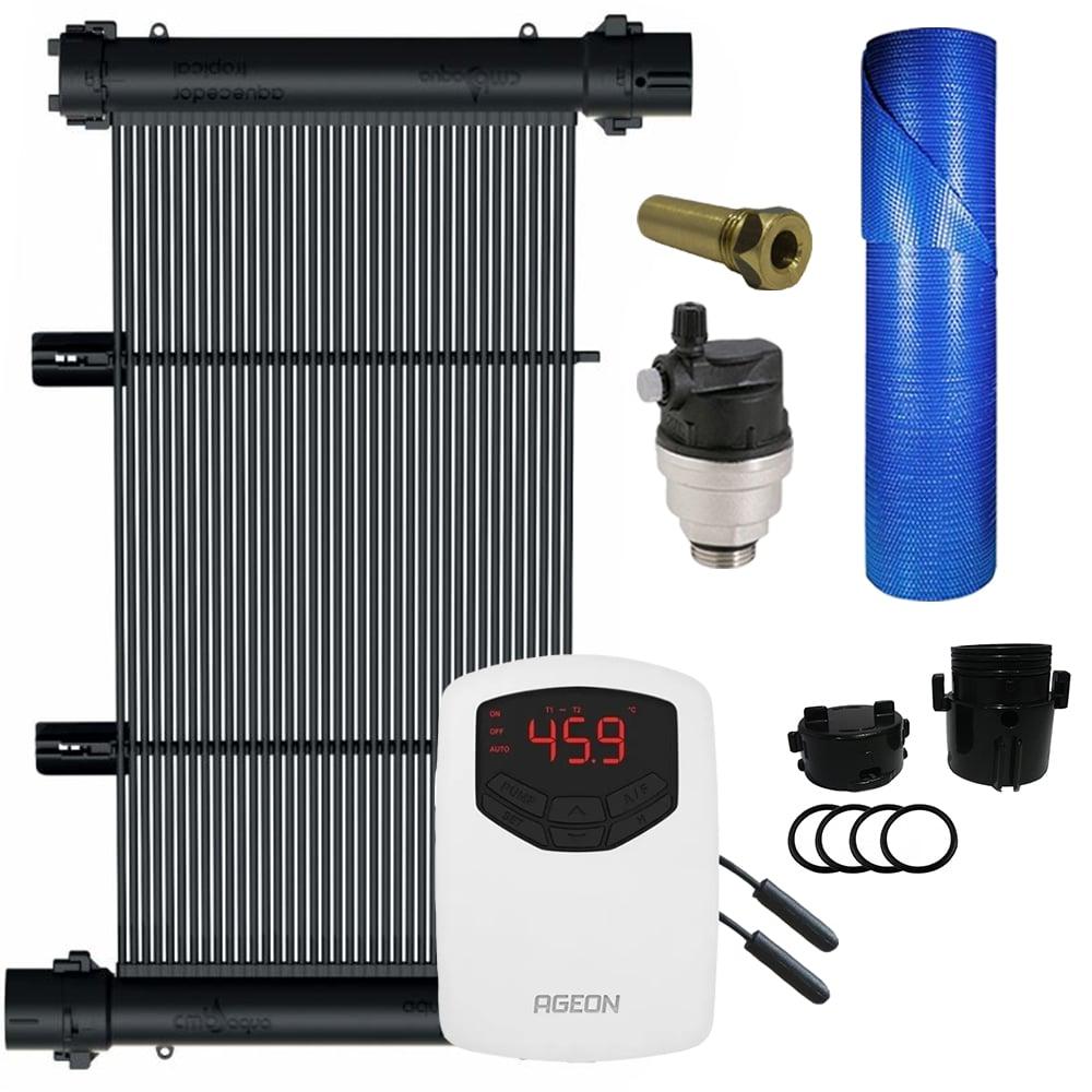 Kit Aquecedor Solar Piscina 65m² + Capa Térmica - CMB Aqua