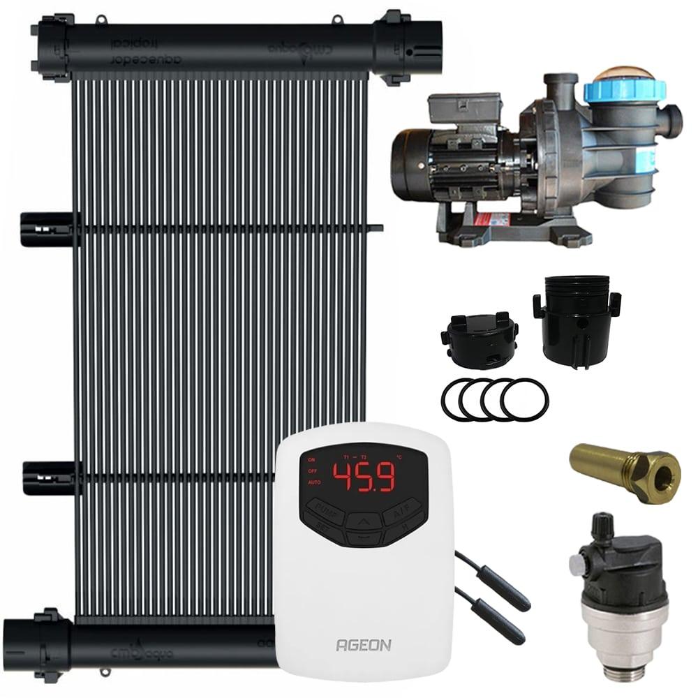 Kit Aquecedor Solar Piscina 72m² + Motor 1/2 CV - CMB Aqua