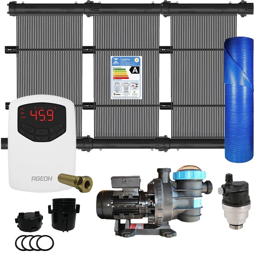 Kit Aquecedor Solar Piscina até 12m² + Capa + Motor 1/2 CV - CMB Aqua