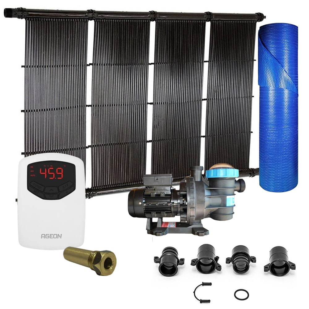 Kit Aquecedor Solar Piscina até 36m² ou 50.000L + Capa + Motor 1/2 CV