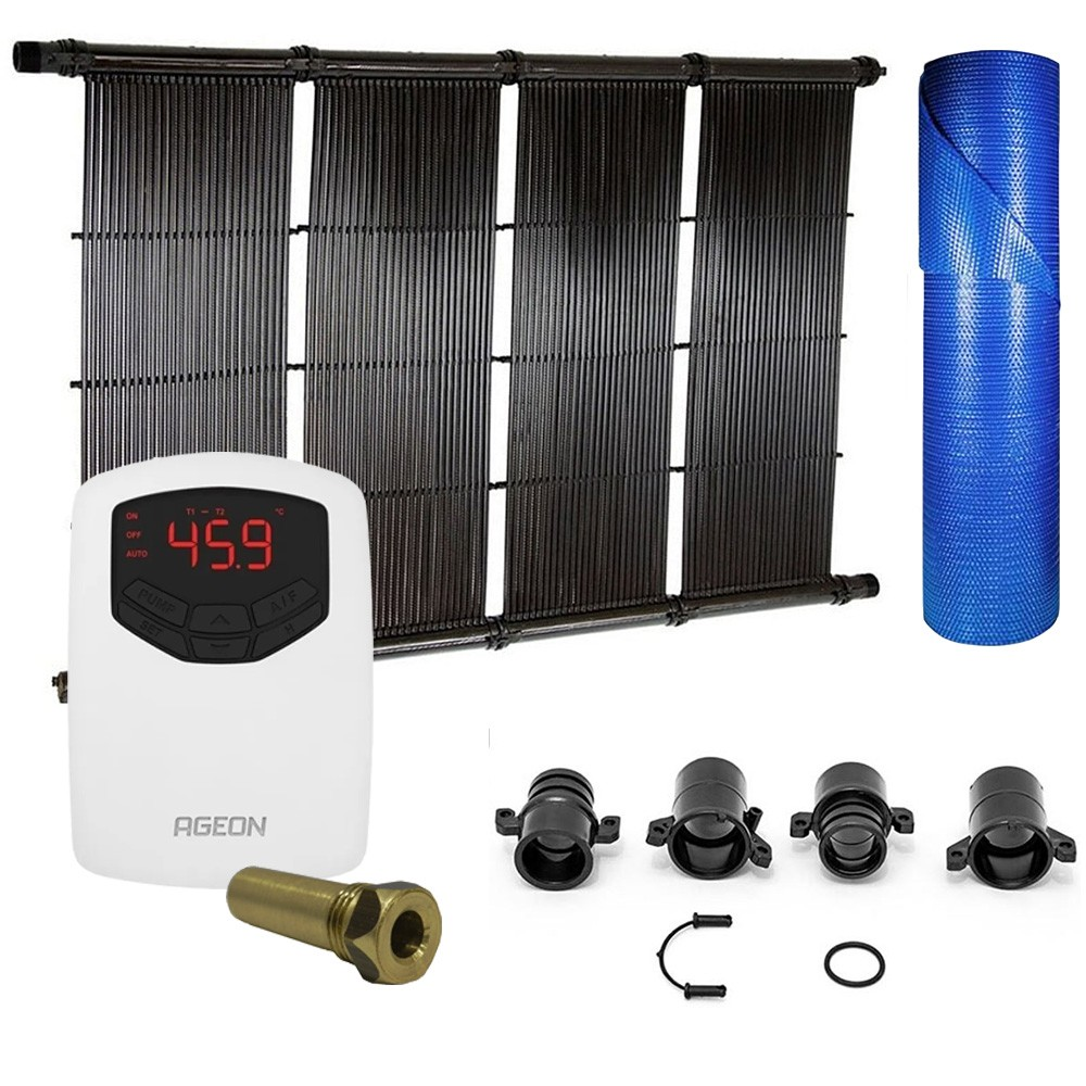 Kit Aquecedor Solar Piscina até 36m² ou 50.000L + Capa Termica