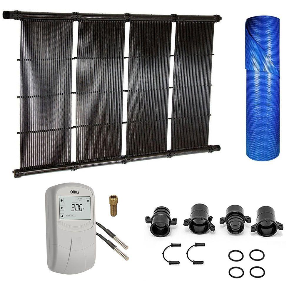Kit Aquecedor Solar Piscina até 48m² ou 67.000L + Capa Termica