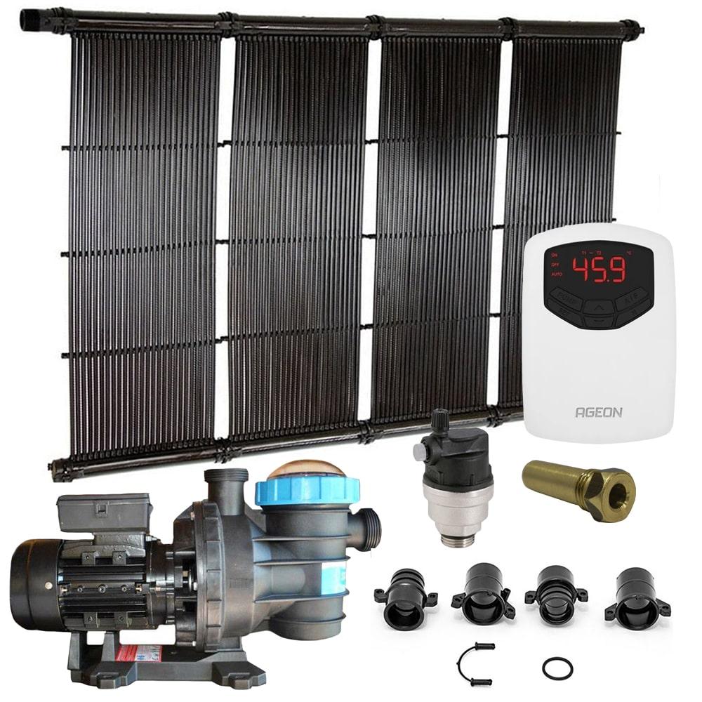 Kit Aquecedor Solar Piscina até 54m² ou 75.000L + Motor 1/2 CV