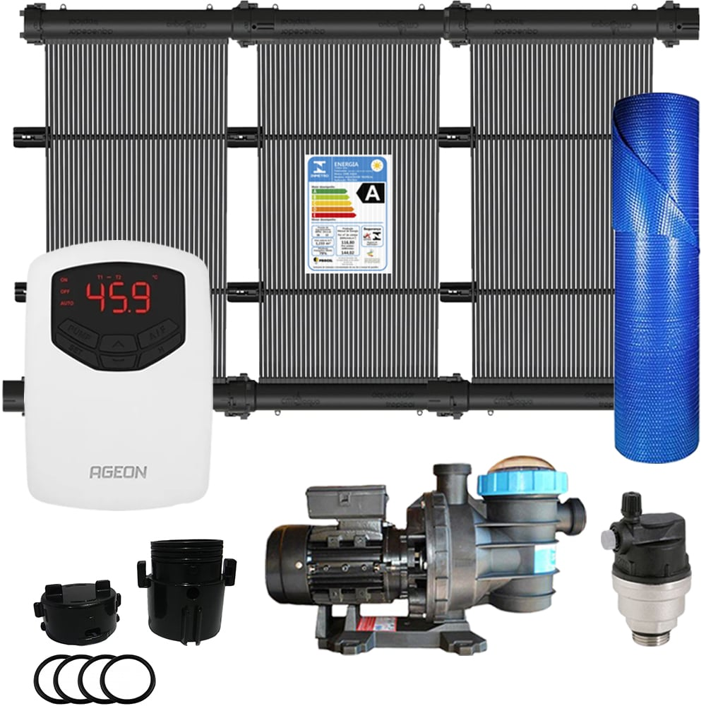 Kit Aquecedor Solar Piscina até 72m² + Capa + Motor 1/2 CV - CMB Aqua