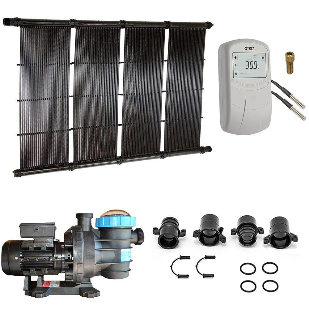 Kit Aquecedor Solar Piscina até 84m² ou 117.000L + Motor 3/4 CV